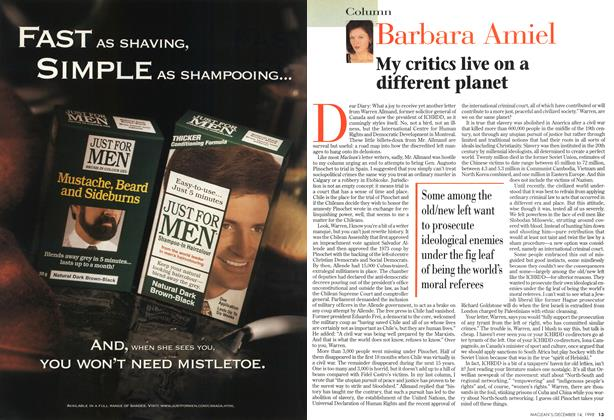 Article Preview: My critics live on a different planet, DECEMBER 14 1998 | Maclean's