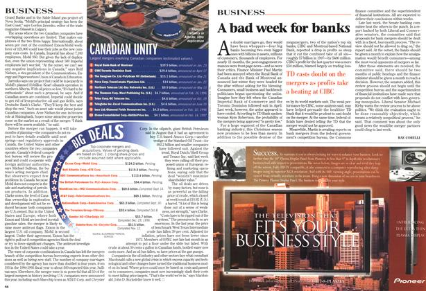 Article Preview: A bad week for banks, DECEMBER 14 1998 | Maclean's