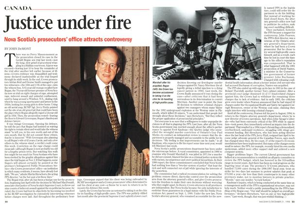 Article Preview: Justice under fire, December 1998 | Maclean's
