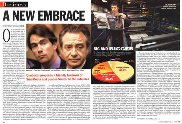 Article Preview: A NEW EMBRACE, December 1998 | Maclean's
