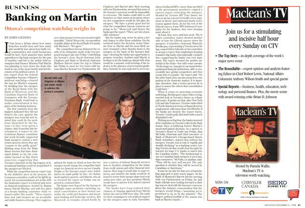 Article Preview: Banking on Martin, December 1998 | Maclean's