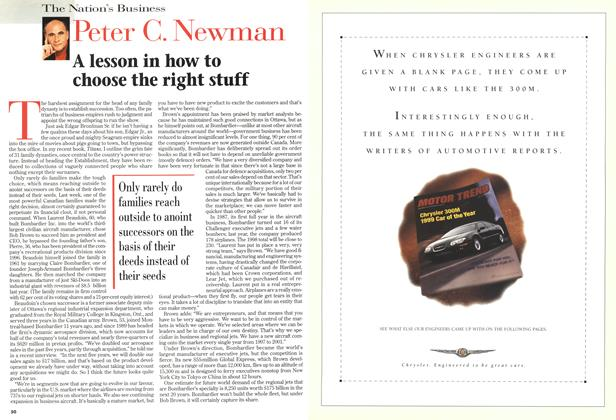 Article Preview: A lesson in how to choose the right stuff, December 1998 | Maclean's
