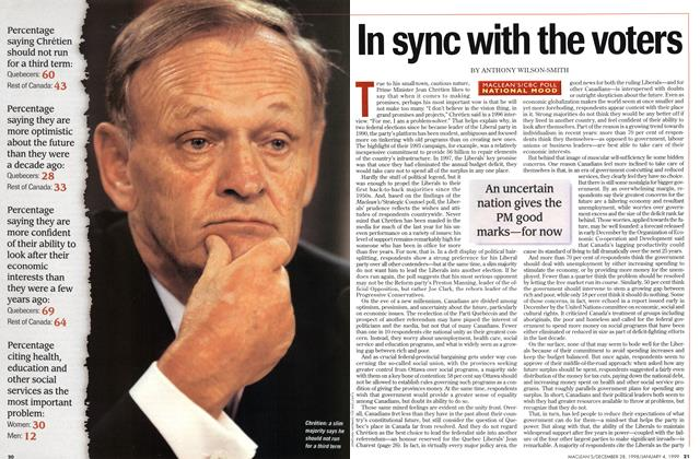 Article Preview: In sync with the voters, DECEMBER 28, 1998 / JANUARY 4, 1999 1998 | Maclean's