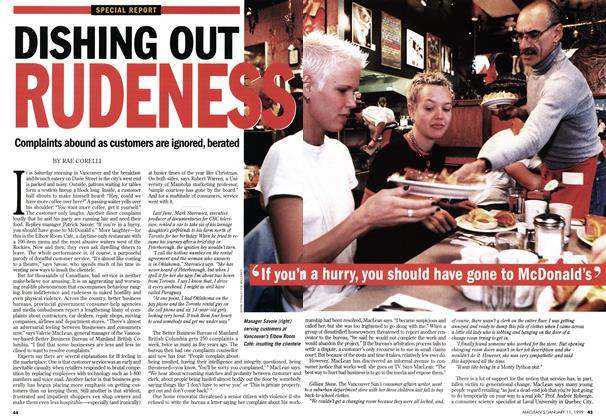 Article Preview: DISHING OUT RUDENESS, January 1999 | Maclean's