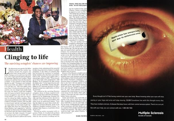 Article Preview: Clinging to life, January 1999 | Maclean's