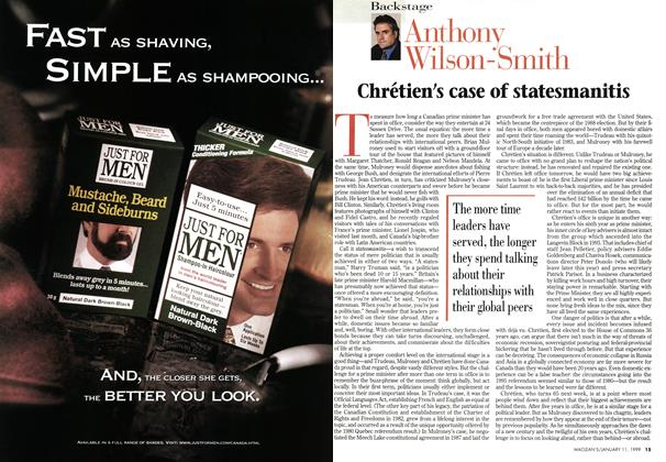 Article Preview: Chrétien's case of statesmanitis, January 1999 | Maclean's