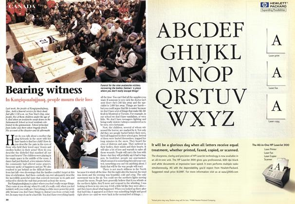 Article Preview: Bearing witness, January 1999 | Maclean's