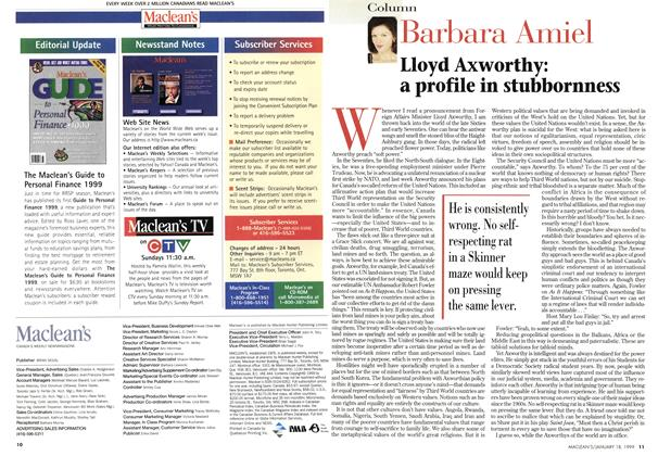 Article Preview: Lloyd Axworthy: a profile in stubbornness, January 1999 | Maclean's