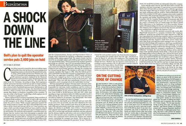 Article Preview: A SHOCK DOWN THE LINE, January 1999 | Maclean's