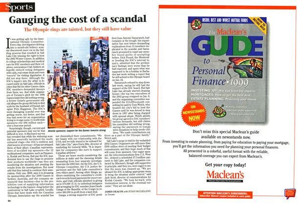 Article Preview: Gauging the cost of a scandal, January 1999 | Maclean's