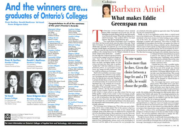 Article Preview: What makes Eddie Greenspan run, February 1999 | Maclean's