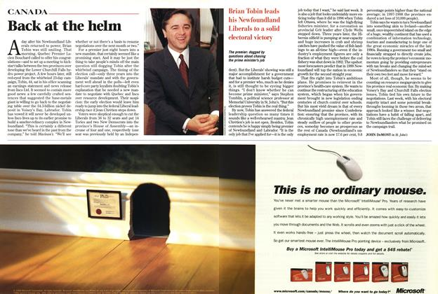 Article Preview: Back at the helm, February 1999 | Maclean's