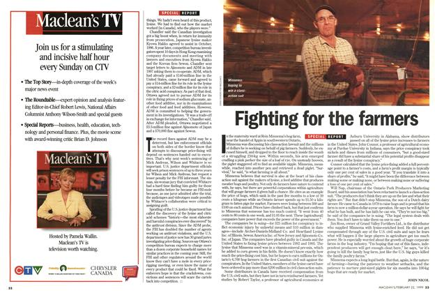 Article Preview: Fighting for the farmers, February 1999 | Maclean's