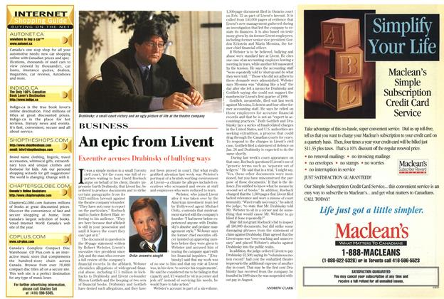 Article Preview: An epic from Livent, March 1999 | Maclean's