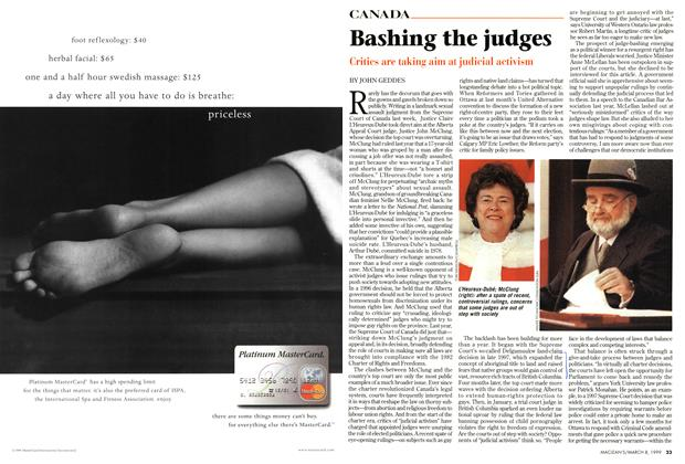 Article Preview: Bashing the judges, March 1999 | Maclean's