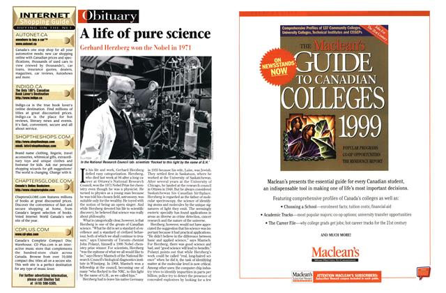 Article Preview: A life of pure science, March 1999 | Maclean's