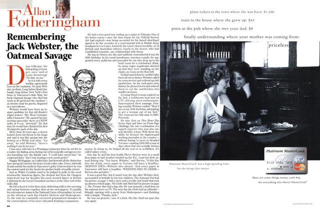 Article Preview: Remembering Jack Webster, the Oatmeal Savage, March 1999   Maclean's