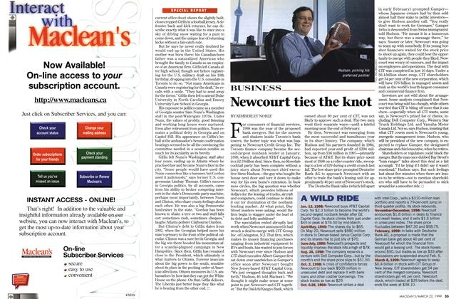 Article Preview: Newcourt ties the knot, March 1999 | Maclean's