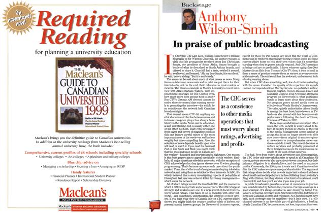 Article Preview: In praise of public broadcasting, March 1999 | Maclean's