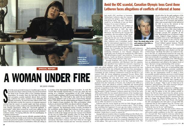 Article Preview: A WOMAN UNDER FIRE, March 1999 | Maclean's