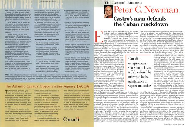 Article Preview: Castro's man defends the Cuban crackdown, March 1999 | Maclean's
