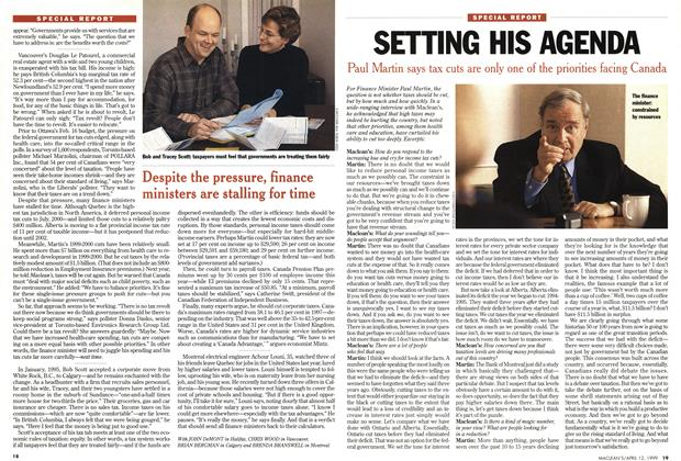Article Preview: SETTING HIS AGENDA, April 1999 | Maclean's