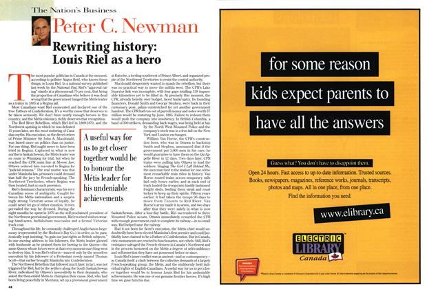 Article Preview: Rewriting history: Louis Riel as a hero, April 1999   Maclean's