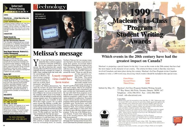 Article Preview: Melissa's message, April 1999 | Maclean's