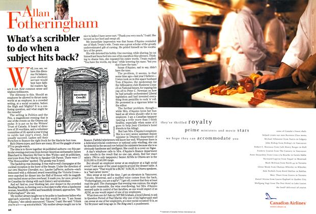 Article Preview: What's a scribbler to do when a subject hits back?, April 1999 | Maclean's