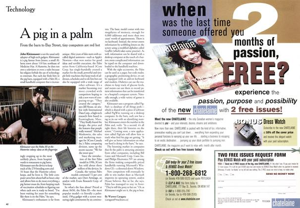 Article Preview: A pig in a palm, May 1999 | Maclean's