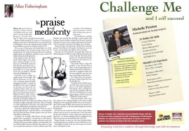Article Preview: In praise of mediocrity, May 1999 | Maclean's
