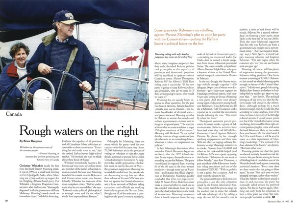 Article Preview: Rough waters on the right, May 1999 | Maclean's