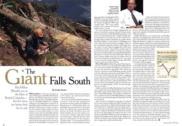 Article Preview: The Giant Falls South, July 1999 | Maclean's