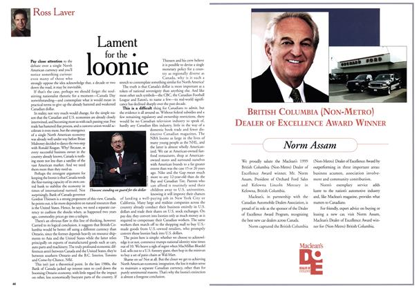 Article Preview: Lament for the Ioonie, July 1999 | Maclean's
