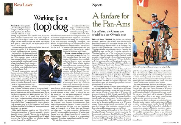 Article Preview: Working like a (top) dog, July 1999   Maclean's