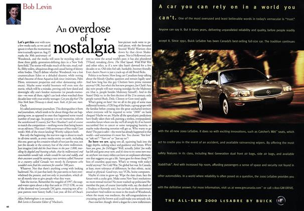 Article Preview: An overdose of nostalgia, August 1999 | Maclean's