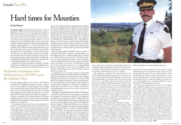 Article Preview: Hard times for Mounties, August 1999 | Maclean's