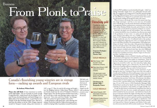 Article Preview: From Plonk to Praise, August 1999 | Maclean's