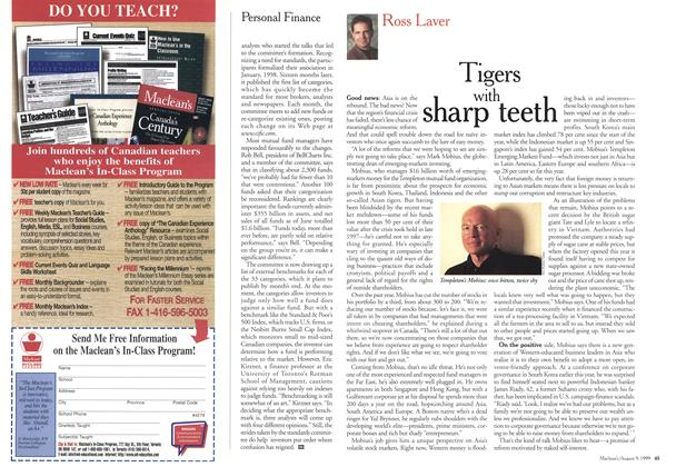 Article Preview: Tigers with sharp teeth, August 1999 | Maclean's