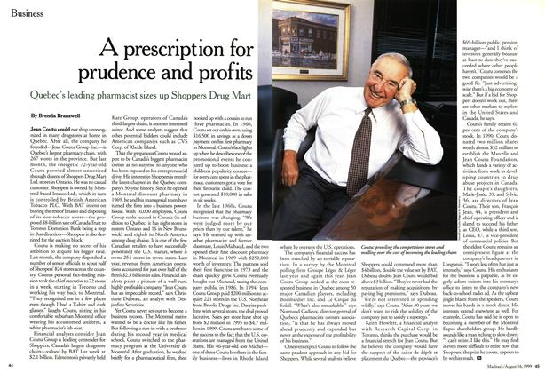 Article Preview: A prescription for prudence and profits, August 1999 | Maclean's