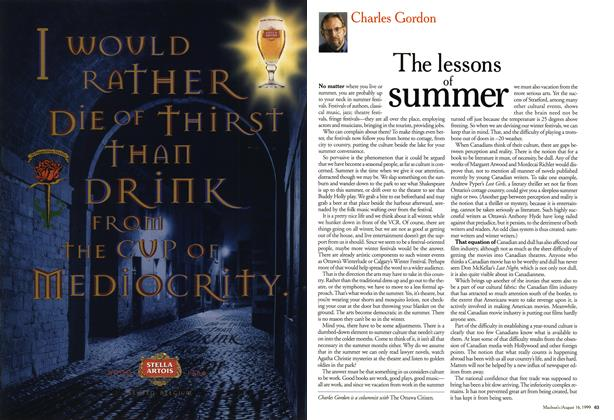 Article Preview: The lessons of summer, August 1999 | Maclean's
