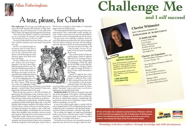 Article Preview: A tear, please, for Charles, August 1999 | Maclean's