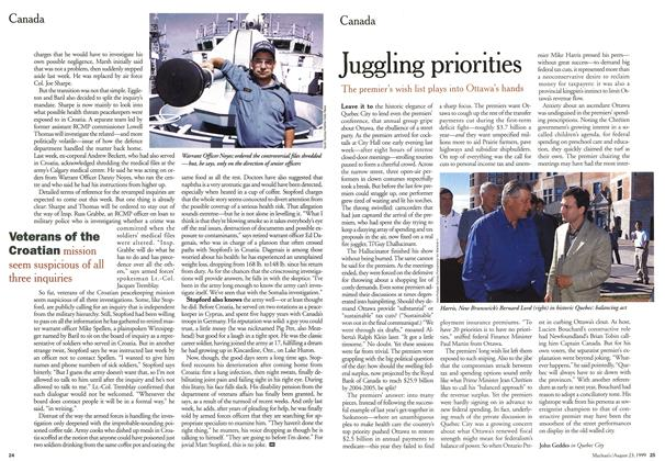 Article Preview: Juggling priorities, August 1999 | Maclean's