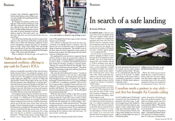 Article Preview: In search of a safe landing, August 1999 | Maclean's
