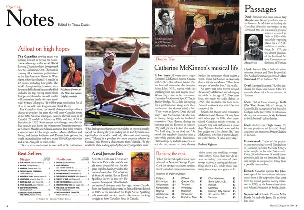 Article Preview: Opening Notes, August 1999 | Maclean's