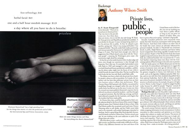 Article Preview: Private lives, public people, September 1999 | Maclean's