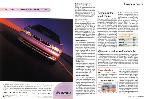 Article Preview: Business Notes, September 1999   Maclean's