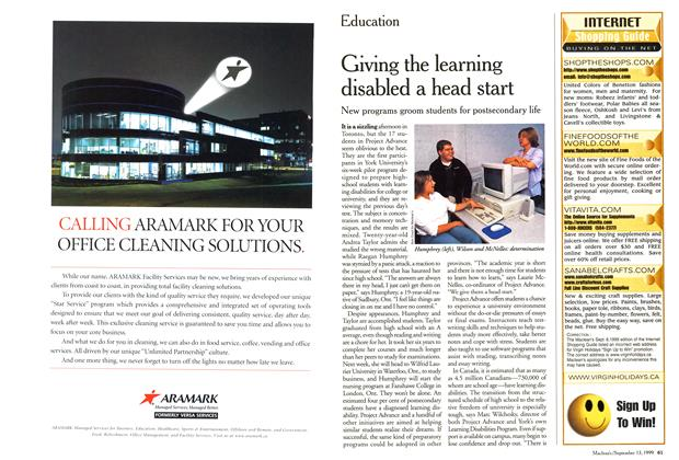 Article Preview: Giving the learning disabled a head start, September 1999 | Maclean's