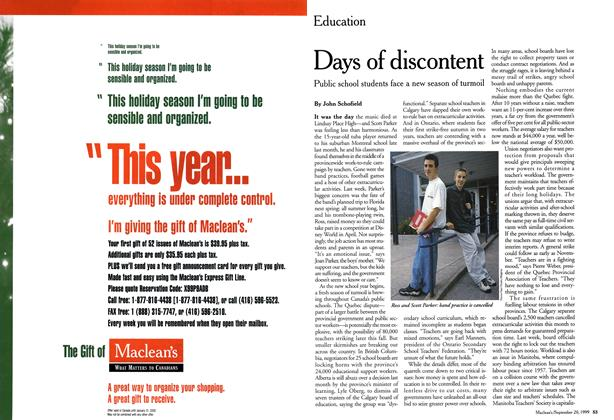 Article Preview: Days of discontent, September 1999 | Maclean's