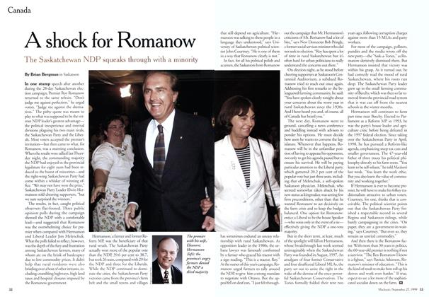 Article Preview: A shock for Romanow, September 1999   Maclean's